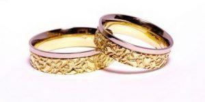 Vestuviniai žiedai Nr.121 (iš geltono aukso, su balto aukso kraštu)