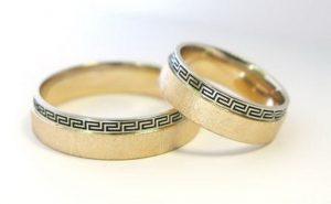 Vestuviniai žiedai Nr.122 (iš raudono aukso, ornamentuotu kraštu)