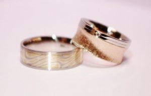 Vestuviniai žiedai Nr.124 (platūs, pora-iš skirtingų modelių)