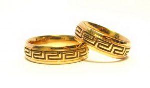 Vestuviniai žiedai Nr.125 (iš geltono aukso, puošti graikišku ornamentu)