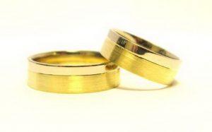 Vestuviniai žiedai Nr.129 (platūs,iš geltono ir balto aukso)
