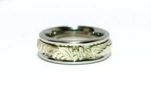 Vestuviniai žiedai Nr.134 (iš platinos, dekoruoti geltonu auksu)