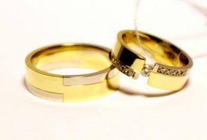 Vestuviniai žiedai Nr.137 (iš dviejų spalvų aukso, mot.-puoštas brangakmeniais)