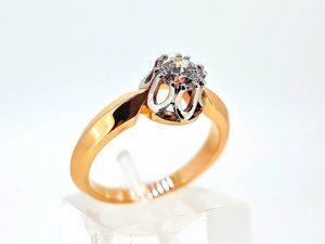 Sužadėtuvių žiedas Nr. 147 (su briliantu, iš dviejų spalvų aukso)