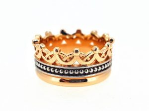 Sužadėtuvių žiedas Nr.148 (,,Karūna'' iš dviejų spalvų aukso)