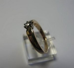 Sužadėtuvių žiedas Nr.14 (iš raudono ir balto aukso,su briliantu)