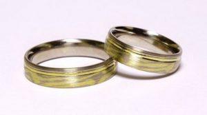 """Vestuviniai žiedai Nr.150 (iš trijų spalvų aukso, """"makume gane"""" techn."""