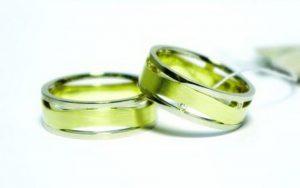 Vestuviniai žiedai Nr.154 (platūs, iš dviejų spalvų aukso)