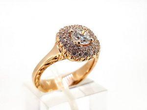 Sužadėtuvių žiedas Nr.163 (puoštas brangakmeniais, iš aukso)