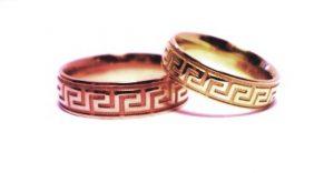 Vestuviniai žiedai Nr.163 (iš raudono,geltono arba balto aukso, su graikišku ornamentu)
