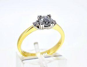 Sužadėtuvių žiedas Nr.171 (su briliantais, iš dviejų spalvų aukso)