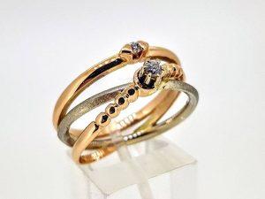 Sužadėtuvių žiedas Nr.172 (iš dviejų spalvų aukso, su briliantais)
