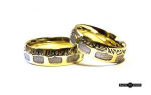 Vestuviniai žiedai Nr.172 (iš geltono arba raudono aukso, su medžių motyvais)