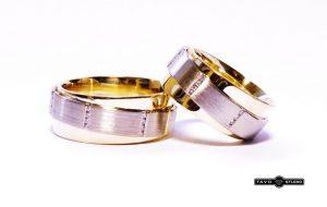 Vestuviniai žiedai Nr.177 (iš raudono aukso, apjuosti baltu auksu, su briliantais)
