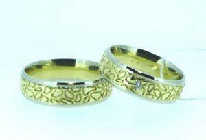 Vestuviniai žiedai Nr.180 (iš geltono ir balto aukso, mot.-su briliantu)