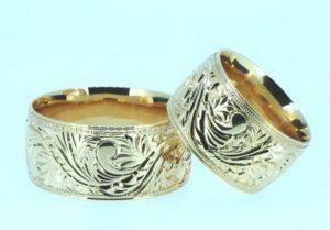 Vestuviniai žiedai Nr.183 (platūs, iš raudono,geltono arba balto aukso, su išraižomu piešiniu)