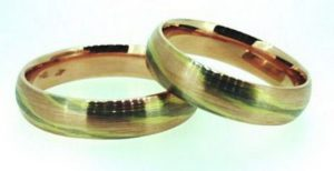 """Vestuviniai žiedai Nr.187 (iš trijų spalvų aukso, """"makume gane"""" technika)"""