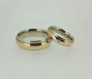 Vestuviniai žiedai Nr.190 (iš balto ir raudono aukso)
