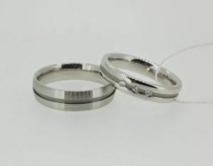 Vestuviniai žiedai Nr.193 (iš balto aukso,puošti briliantais ir juodu auksu )