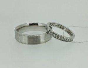Vestuviniai žiedai Nr.194 (iš platinos arba balto aukso, su briliantais)