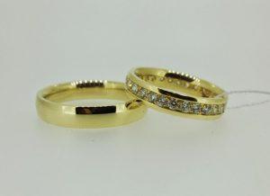 Vestuviniai žiedai Nr.198 (iš geltono, raudono arba balto aukso, mot.-su briliantais)