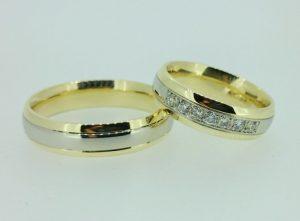 Vestuviniai žiedai Nr. 199 (iš geltono ir balto aukso, mot.-su briliantais)
