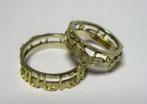 Vestuviniai žiedai Nr.1 (iš balto ir geltono aukso)