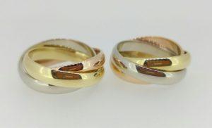 Vestuviniai žiedai Nr.201 (iš balto, geltono ir raudono aukso)