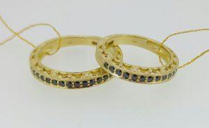 Vestuviniai žiedai Nr.202 (ažūriniai, iš geltono aukso, puošti juodais briliantais)