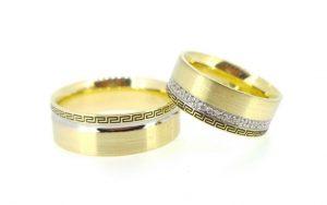 Vestuviniai žiedai Nr.203 (iš geltono aukso, su ornamentuotais kraštais)