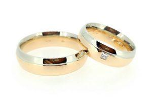 Vestuviniai žiedai Nr.208 (klasikinės formos, iš dviejų spalvų aukso)