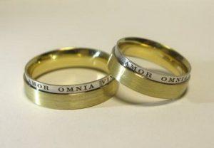 Vestuviniai žiedai Nr.20 (iš geltono arba raudono aukso, su pasirenkamu užrašu)
