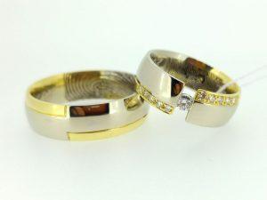 Vestuviniai žiedai Nr.211 (iš dviejų spalvų aukso, mot.-puoštas brangakmeniais)