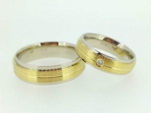 Vestuviniai žiedai Nr.212 (iš balto ir geltono, matinto aukso)