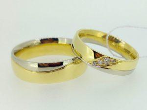 Vestuviniai žiedai Nr.213 (su bangele, iš geltono ir balto aukso)