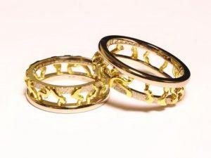 Vestuviniai žiedai Nr.215 (iš dviejų spalvų aukso)