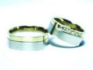 Vestuviniai žiedai Nr.223 (iš paladžio ir geltono aukso)