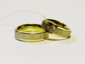 Vestuviniai žiedai Nr.233 (iš geltono ir balto, matinto aukso)