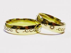 Vestuviniai žiedai Nr.239 (iš geltono, raudono arba balto aukso, su simboliais)