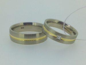 Vestuviniai žiedai Nr.240 (iš balto ir geltono aukso)