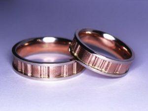 Vestuviniai žiedai Nr.242 (iš rožinio ir balto aukso)