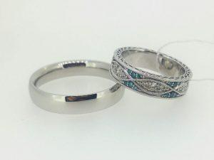 Vestuviniai žiedai Nr.248 (iš platinos ir aukso, mot.-inkrustuotas skaidriais ir mėlynais briliantais)