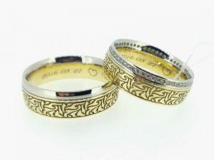 Vestuviniai žiedai Nr.254 (iš geltono ir balto aukso, mot.-inkrustuotas briliantais)