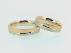 Vestuviniai žiedai Nr.256 (iš dviejų spalvų aukso)