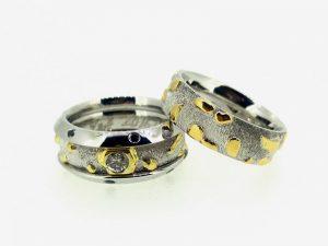 Vestuviniai žiedai Nr.259 (iš platinos ir aukso, mot.-3 dalių,su briliantais)