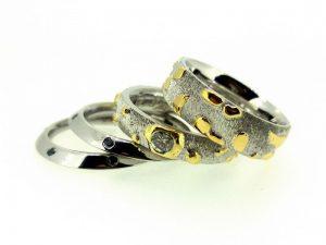 Vestuviniai žiedai Nr.260 (iš platinos, puošti auksu ir briliantais)
