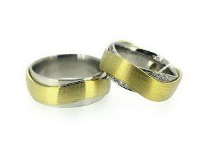 Vestuviniai žiedai Nr.263 (iš dviejų spalvų aukso, mot.-su briliantais)