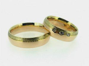 Vestuviniai žiedai Nr.264 ( iš raudono ir geltono aukso, mot.-su briliantais)