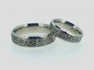 Vestuviniai žiedai Nr.269 (su pirštų anspaudais, iš balto, geltono arba raudono aukso)