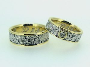 Vestuviniai žiedai Nr.270 (iš geltono ir balto aukso, mot.-su briliantu)